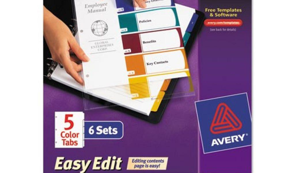 Avery Ready Index Template 5 Tab Color