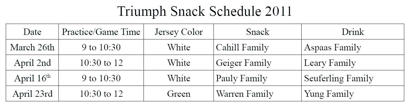 Ayso Snack Schedule Template