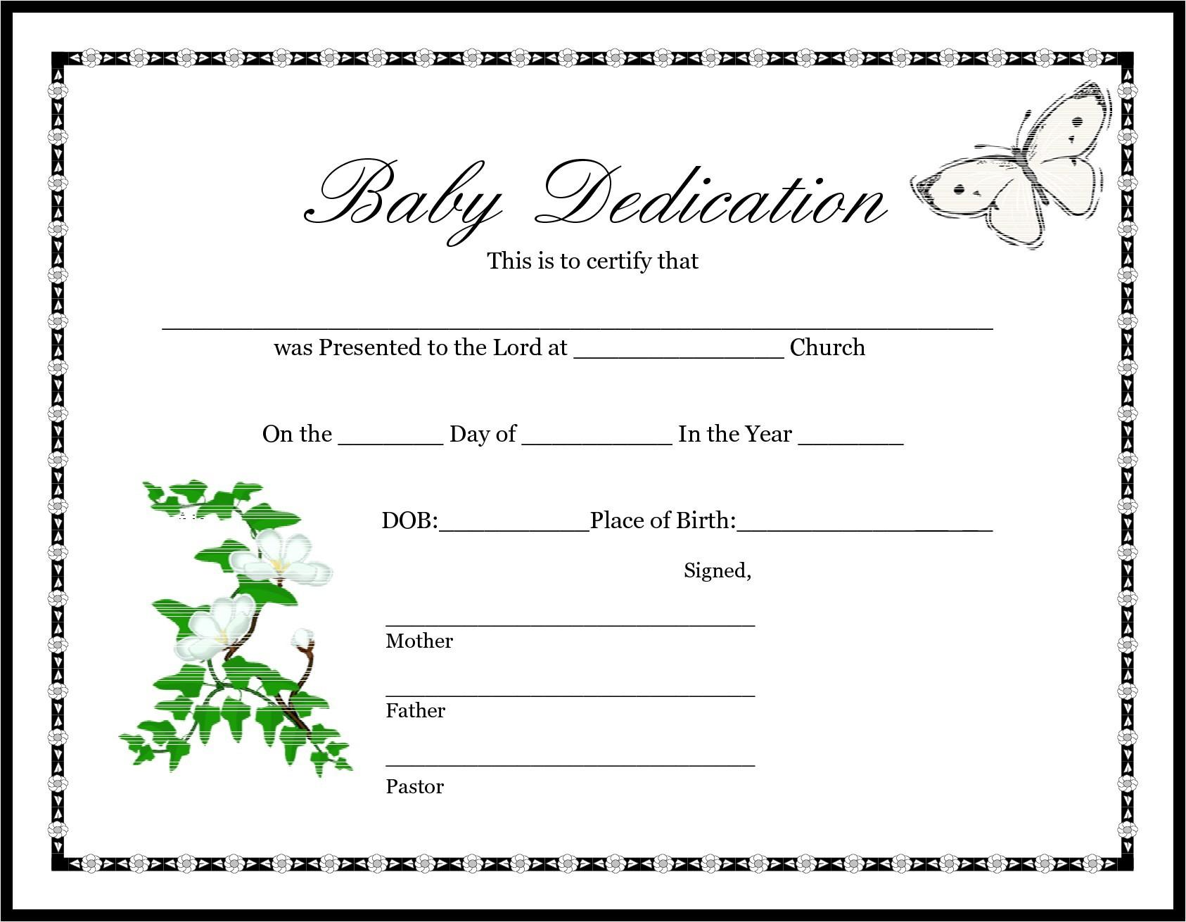 Baby Christening Certificate Template