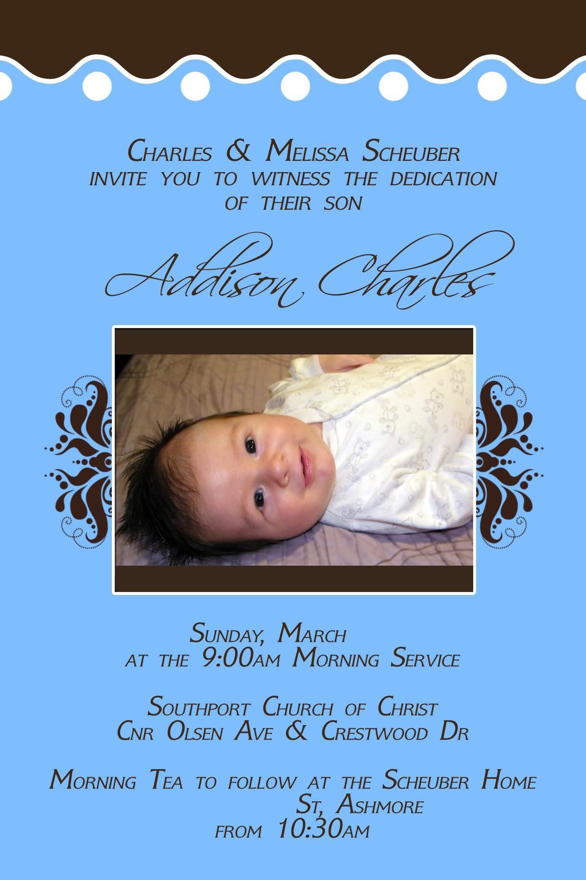 Baby Dedication Invitation Sample