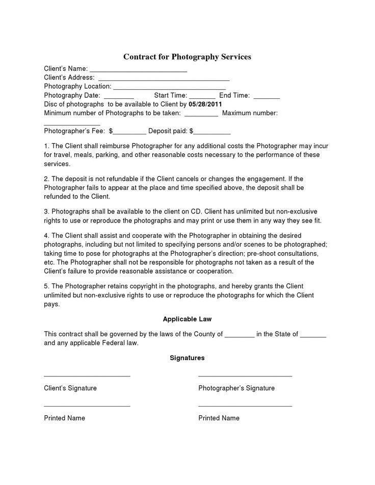 Baby Photography Contract Templates