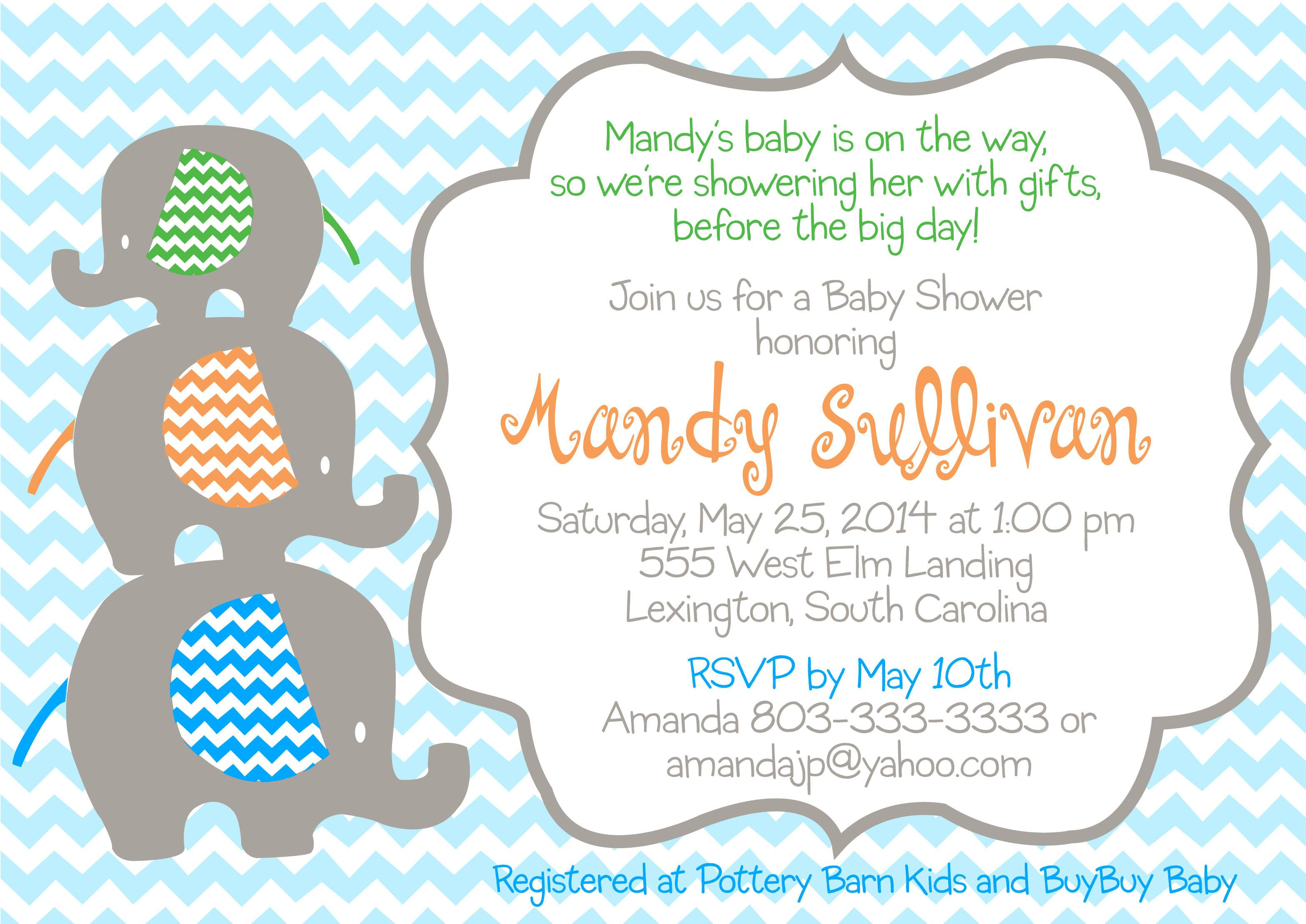 Baby Shower Invitation Template Elephant
