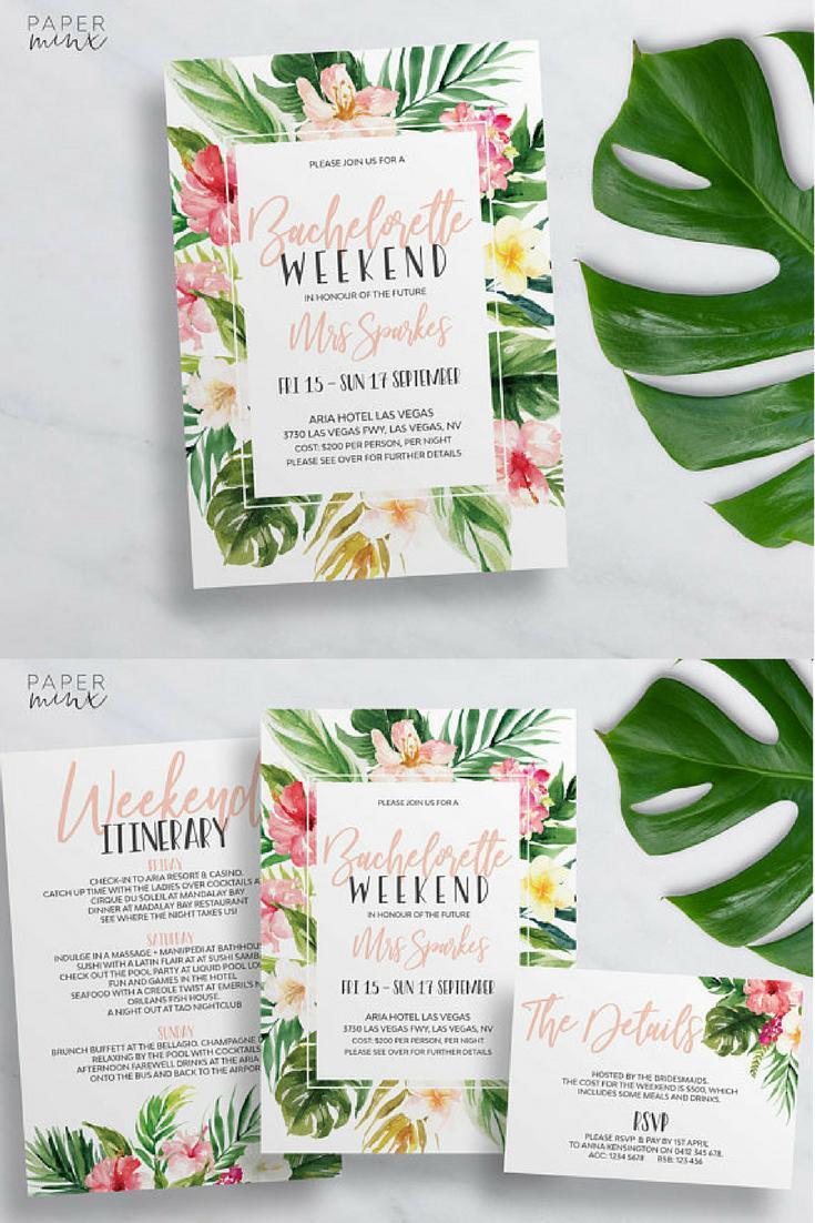 Bachelorette Itinerary Template Printable