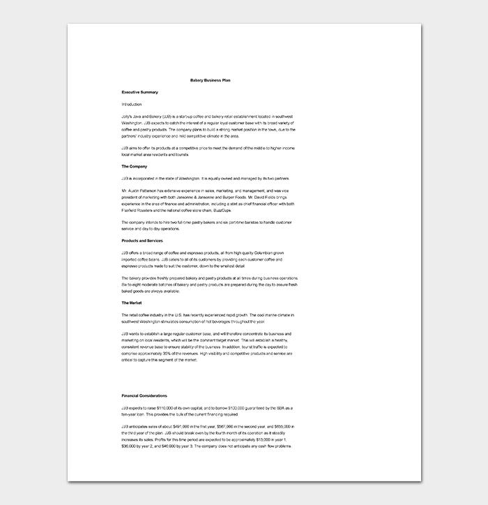 Bakery Business Plan Samples Pdf