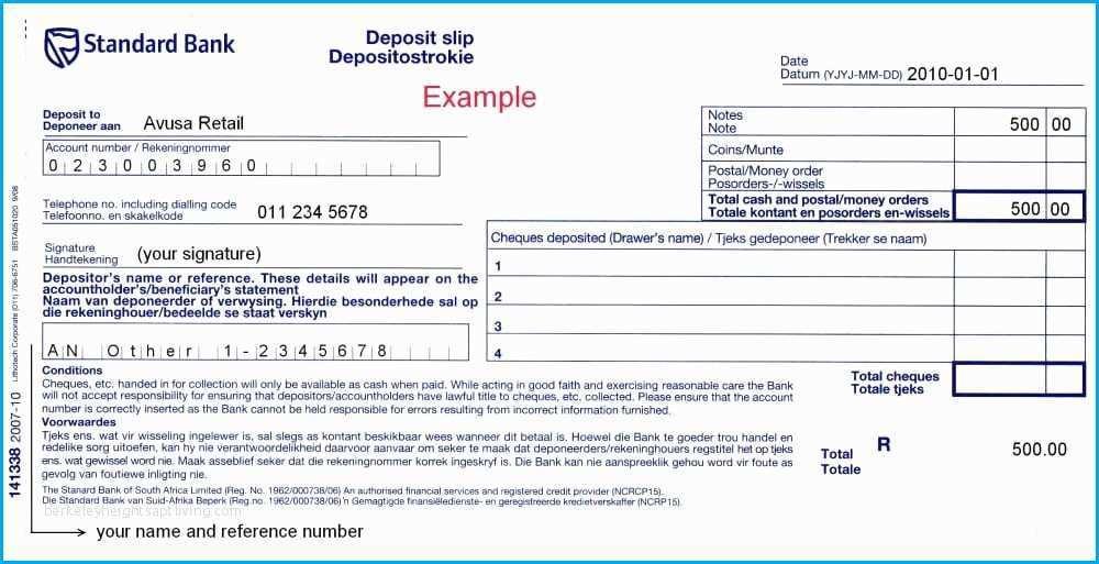 Bank Deposit Slip Template Word