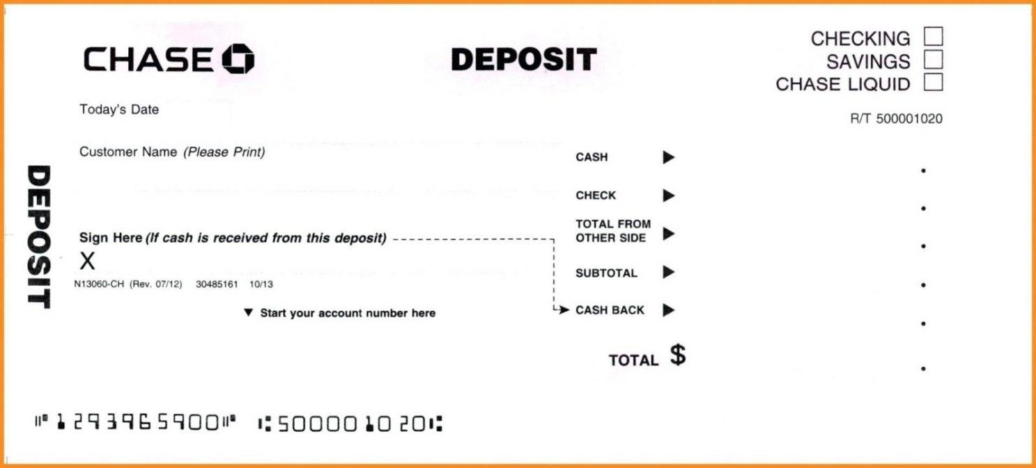 Bank Deposit Slips Template