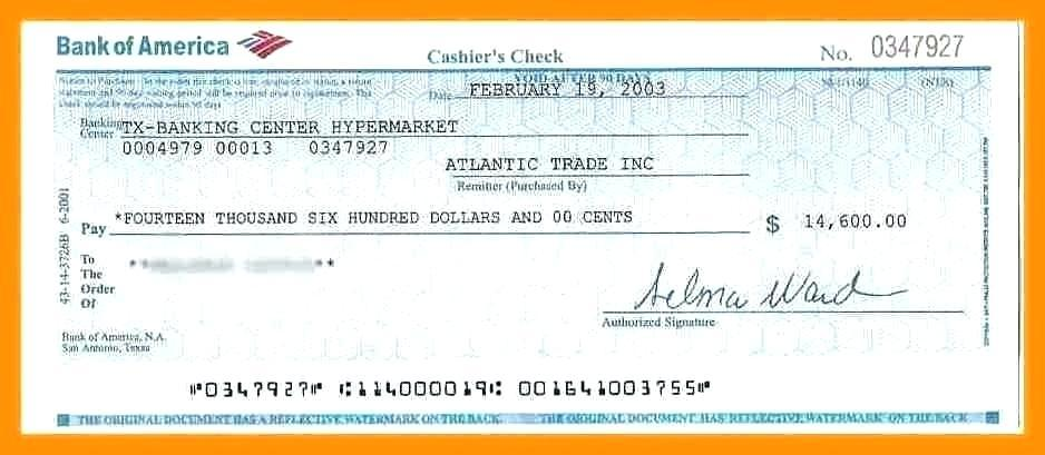 Bank Of America Cashier's Check Template