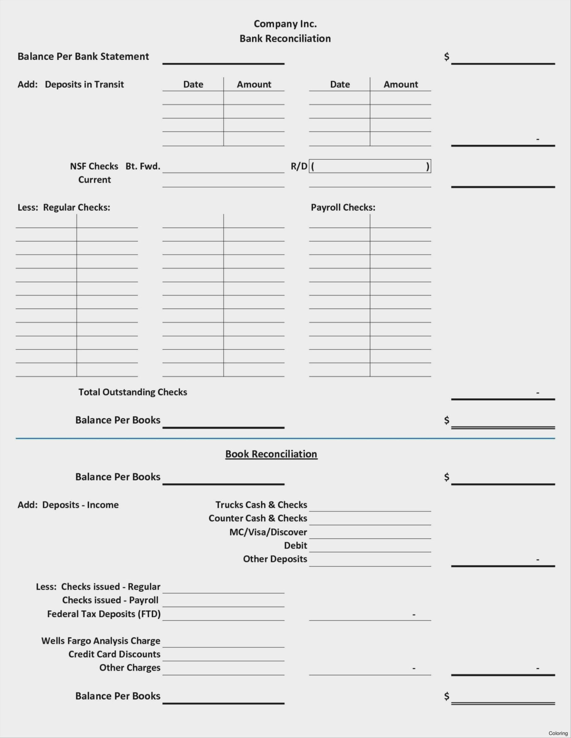 Bank Reconciliation Spreadsheet Template