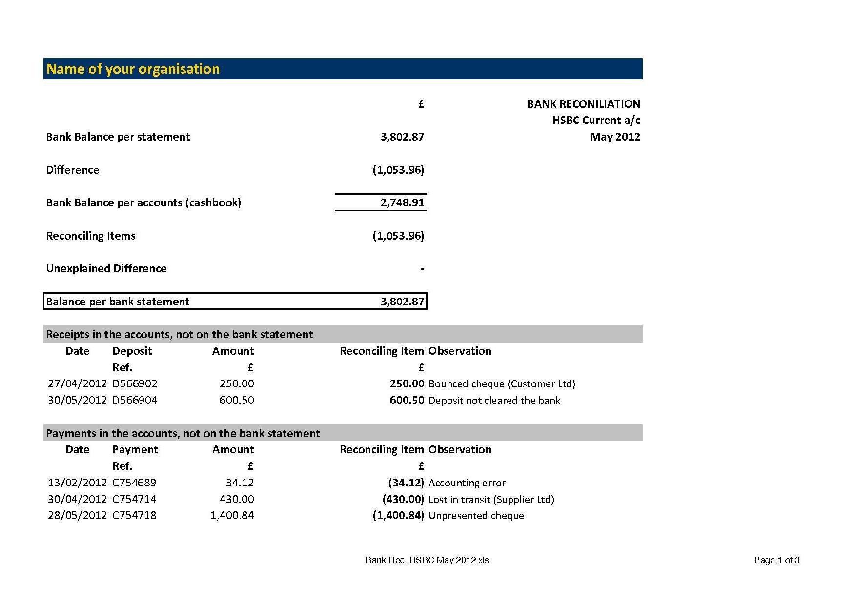 Bank Reconciliation Template Download