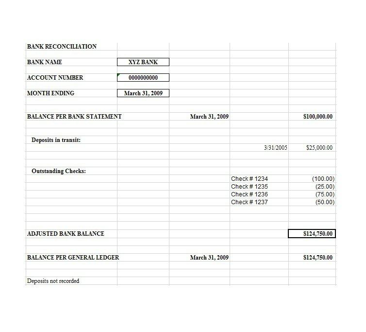 Bank Reconciliation Template Free Download