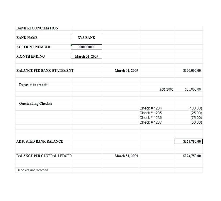 Bank Reconciliation Template South Africa