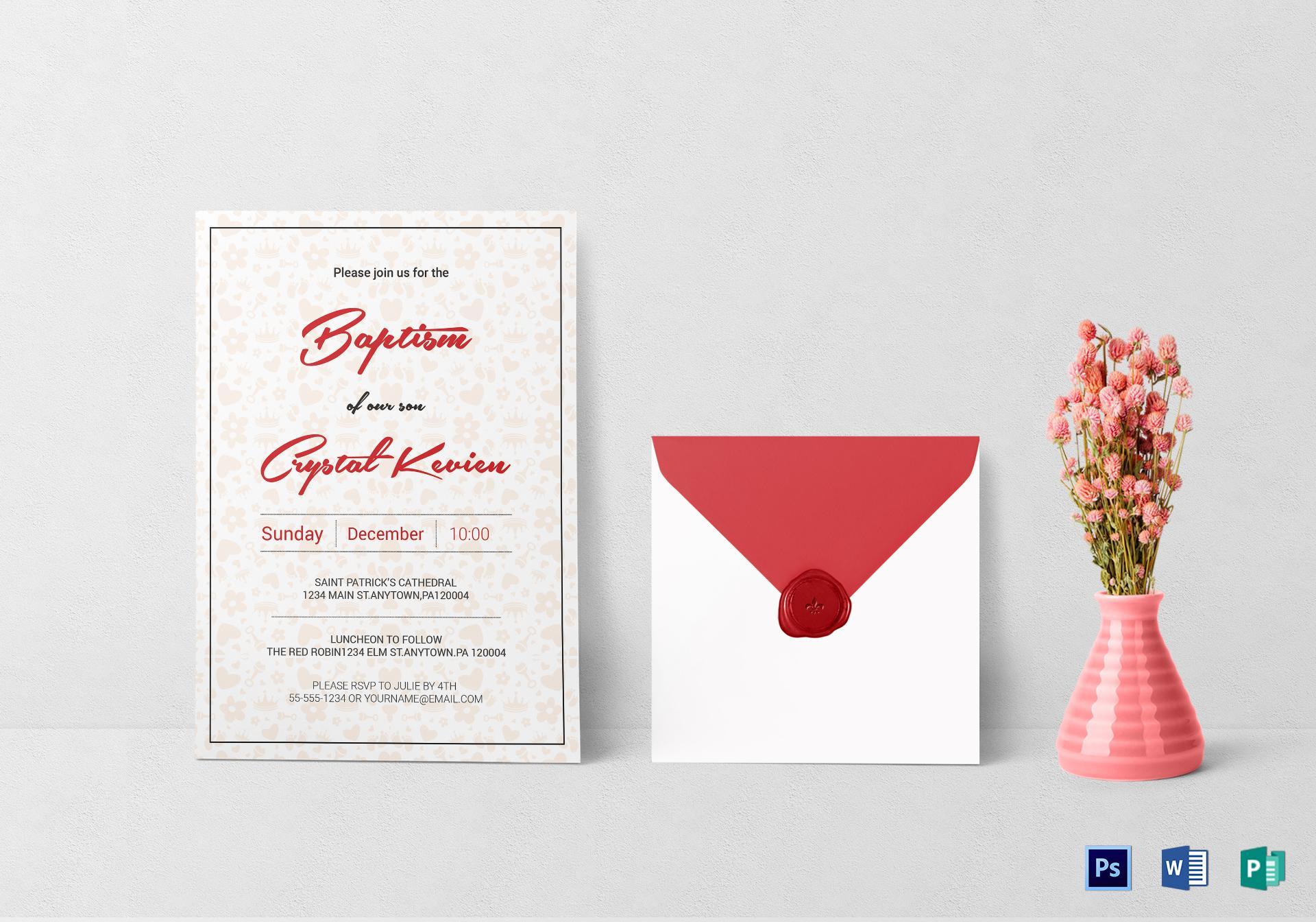 Baptism Invitation Template Psd