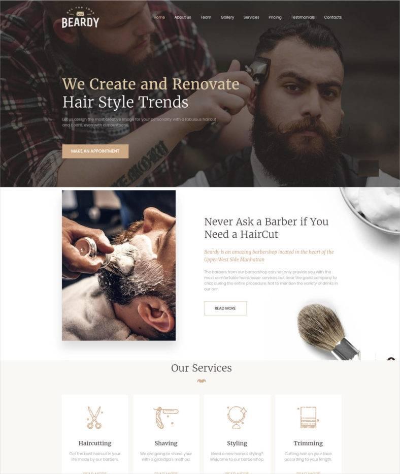 Barber Shop Website Template Free