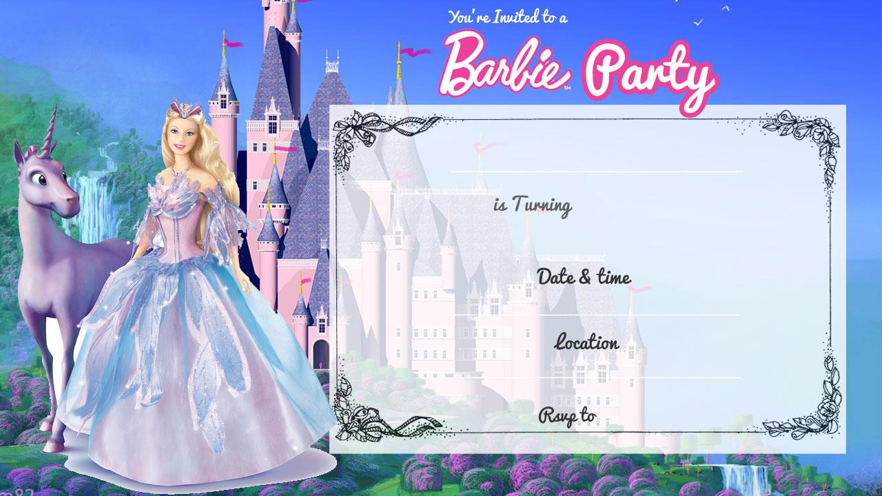 Barbie Princess Invitation Templates