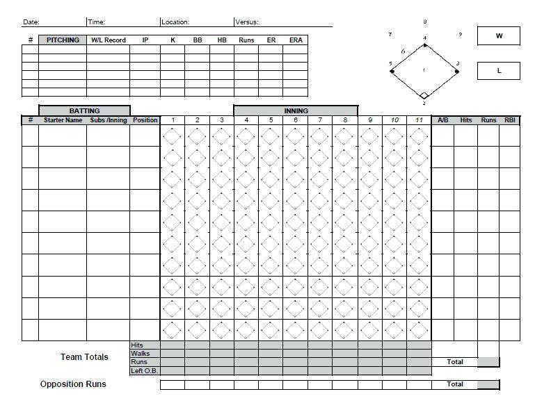 Baseball Field Schedule Template