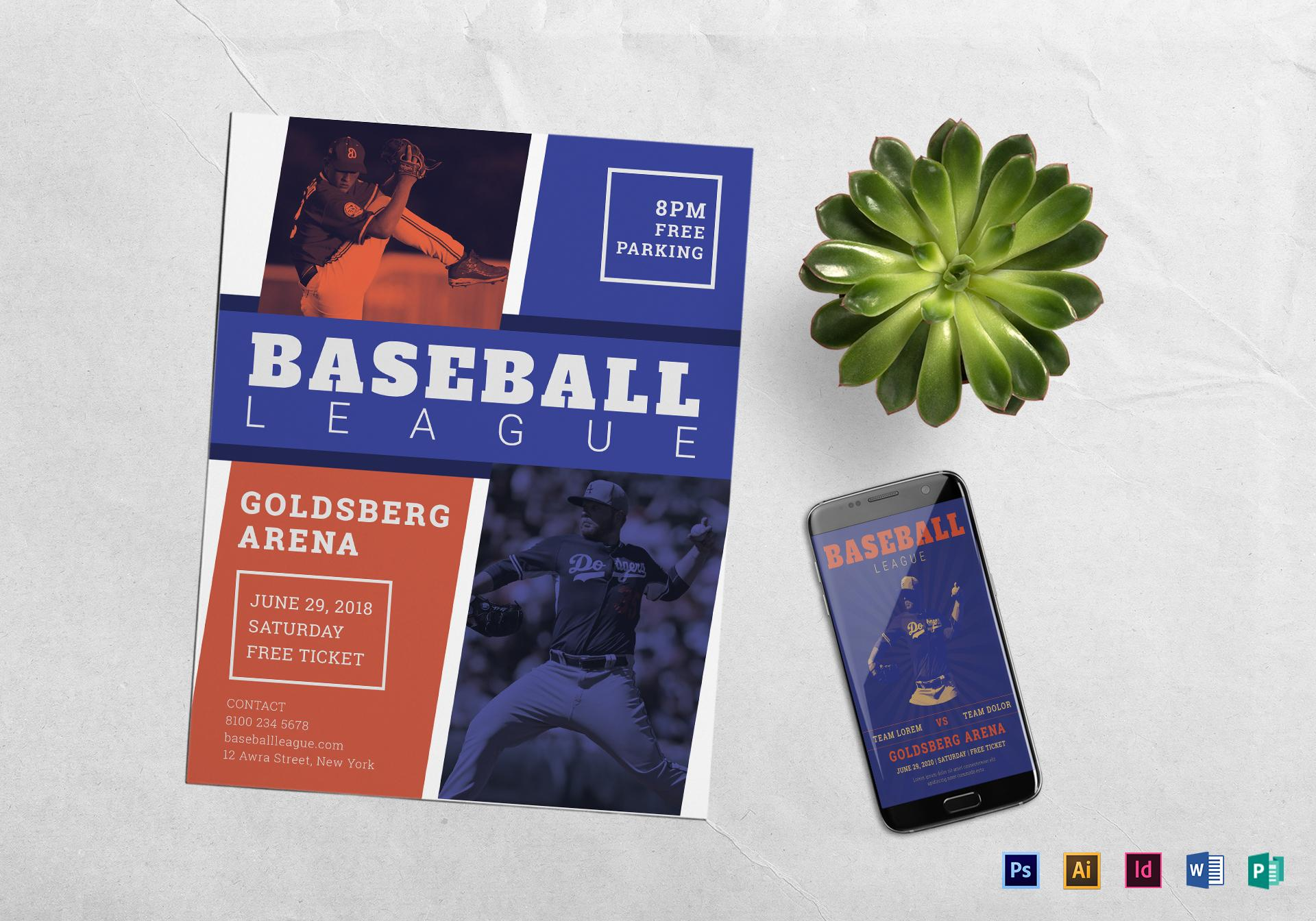 Baseball Flyer Template Publisher