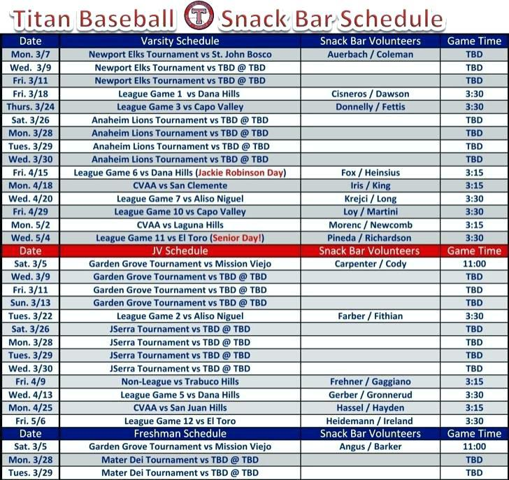 Baseball Game Schedule Template
