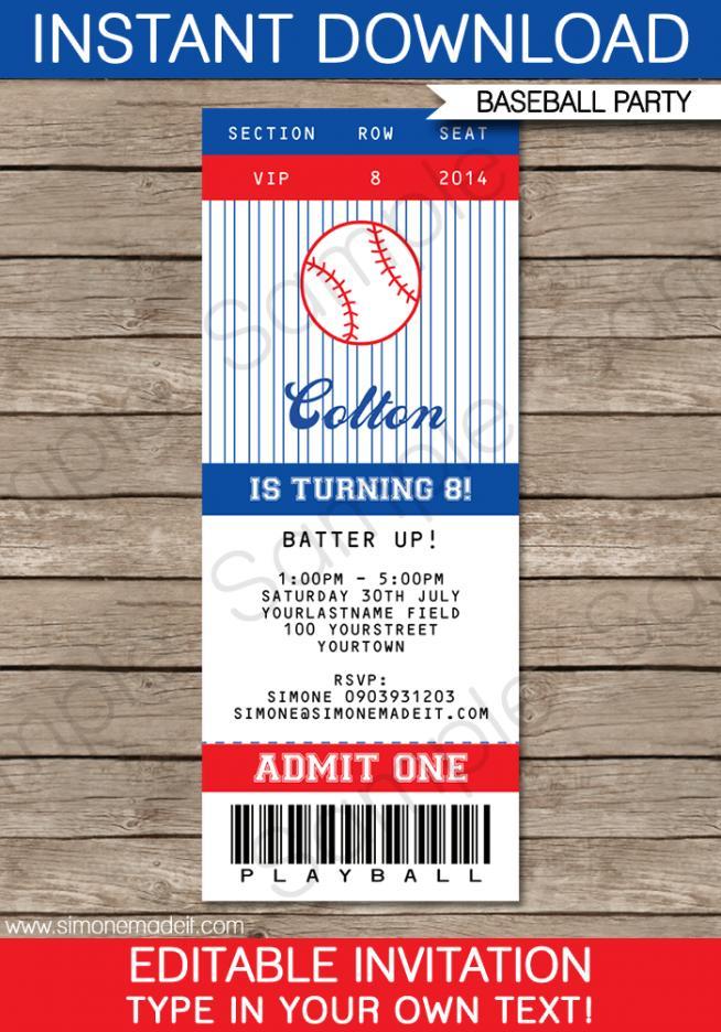 Baseball Party Invitation Template Free