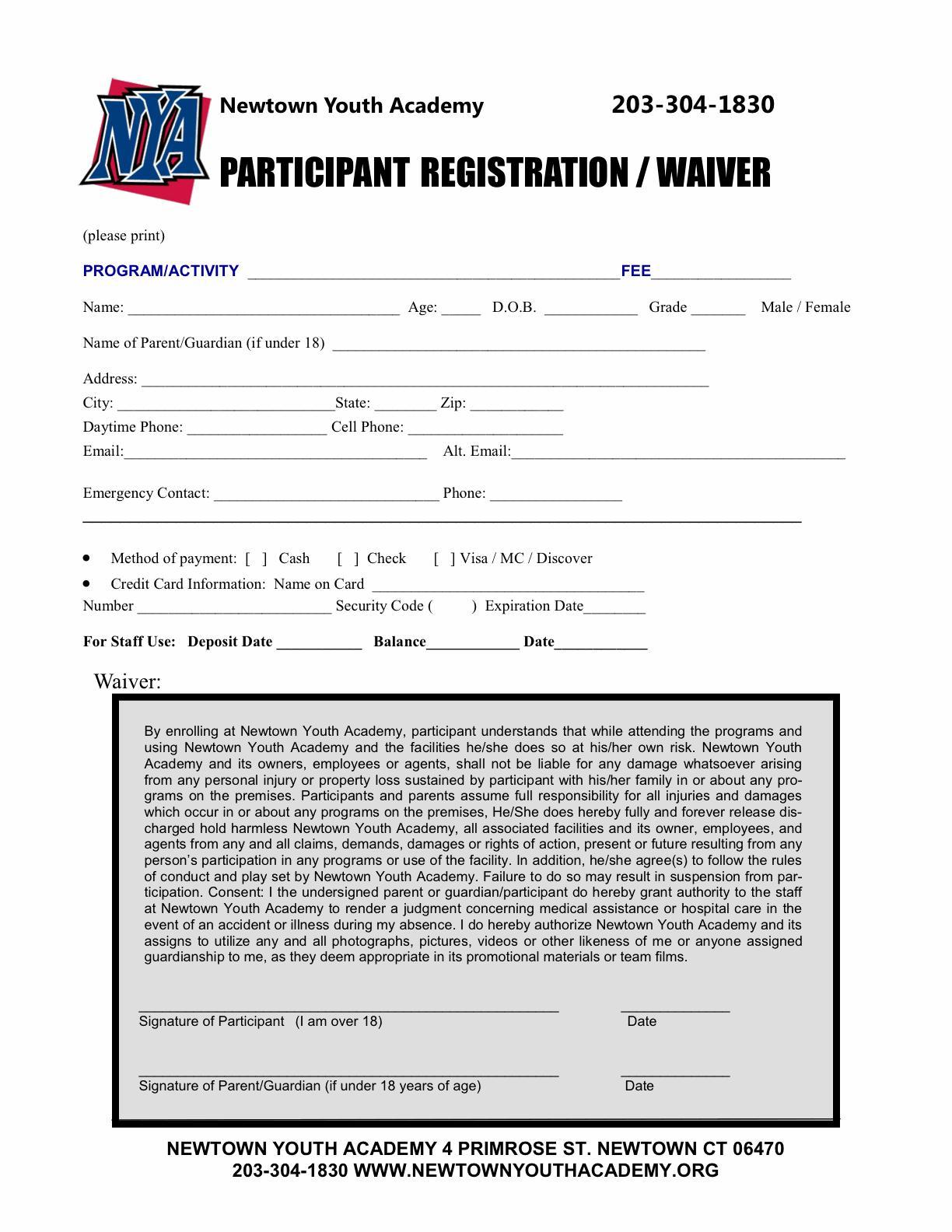 Baseball Player Registration Form Template