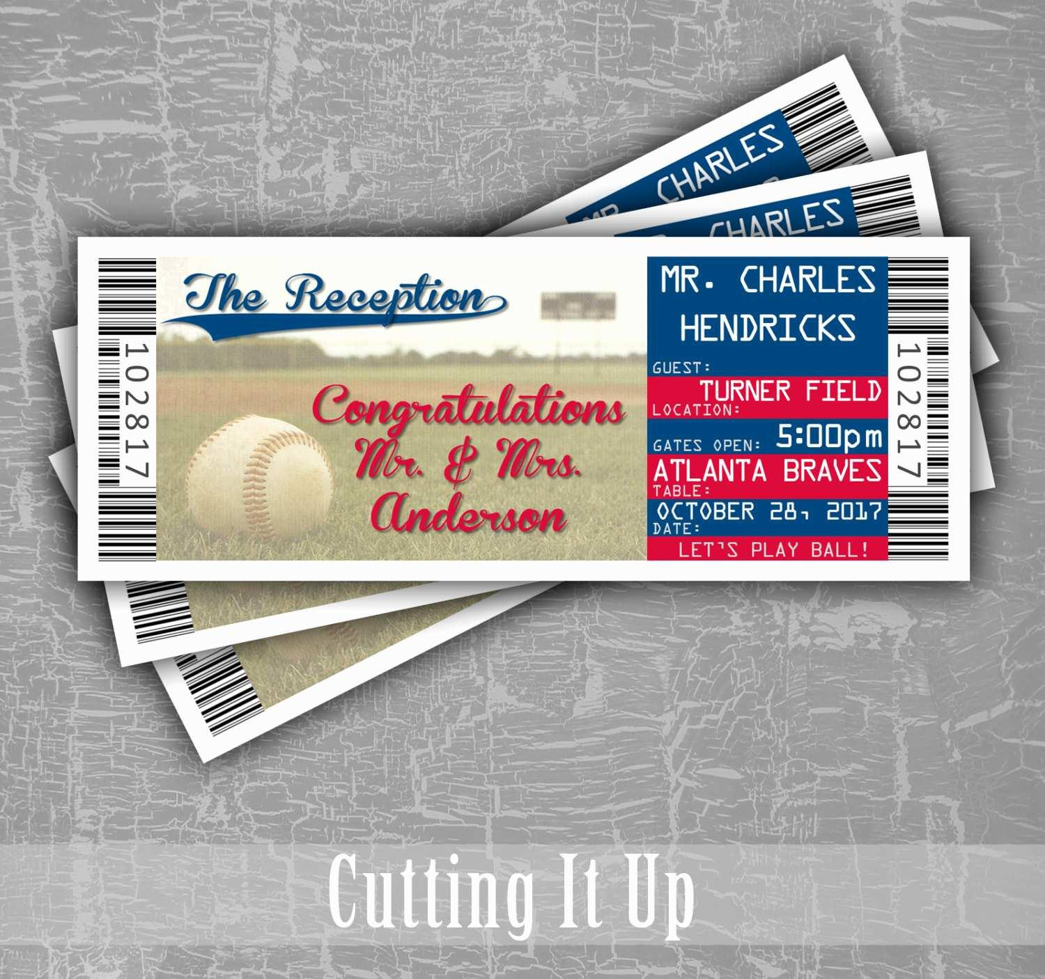 Baseball Ticket Place Card Template