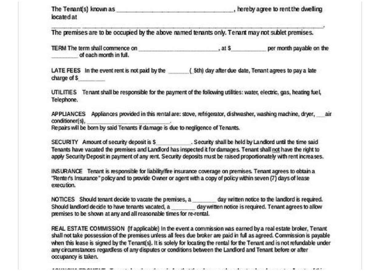 Basic Commercial Lease Agreement Template Free