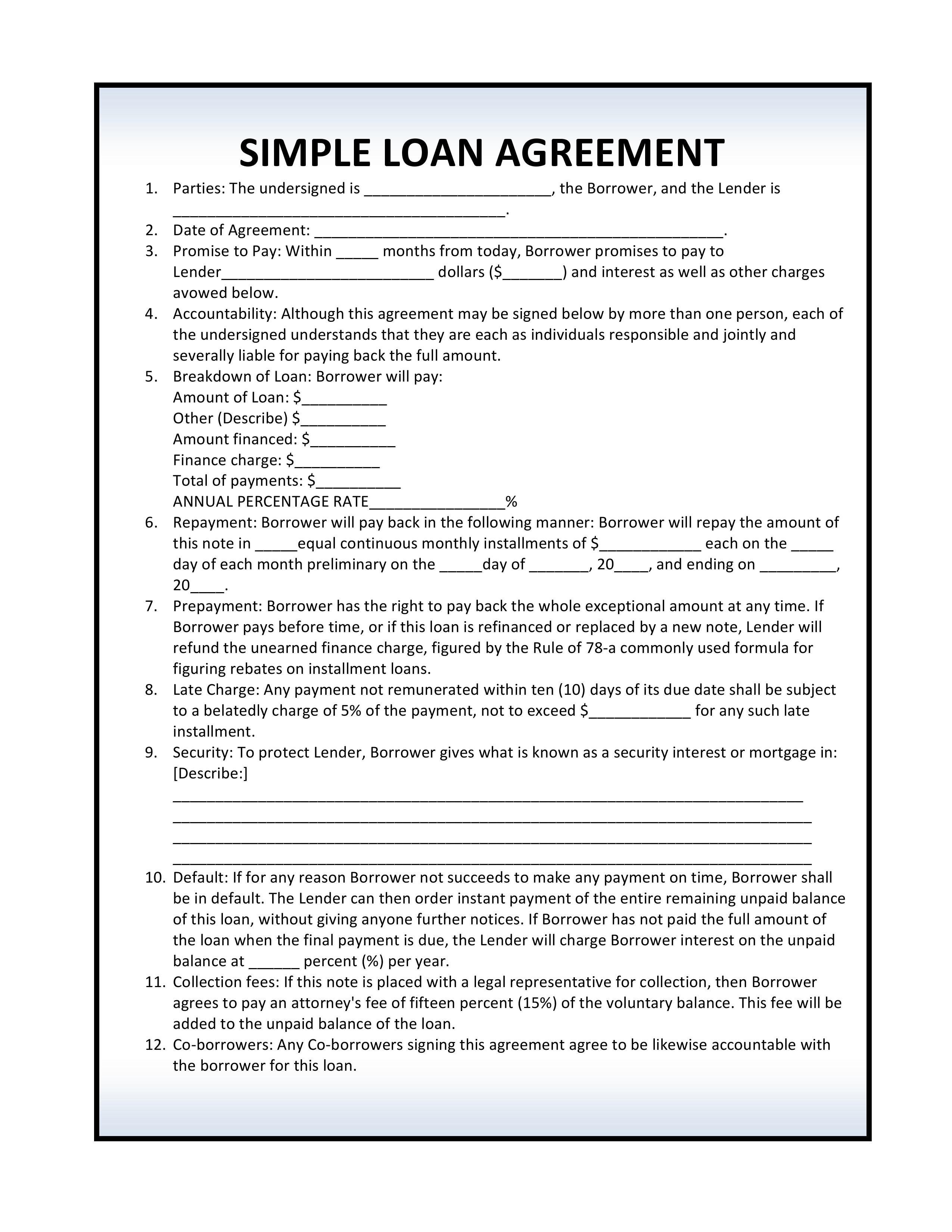 Basic Loan Agreement Contract Template