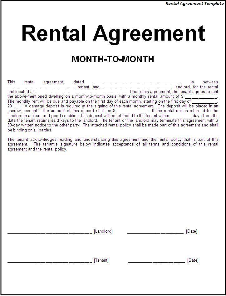 Basic Rental Agreement Template Word