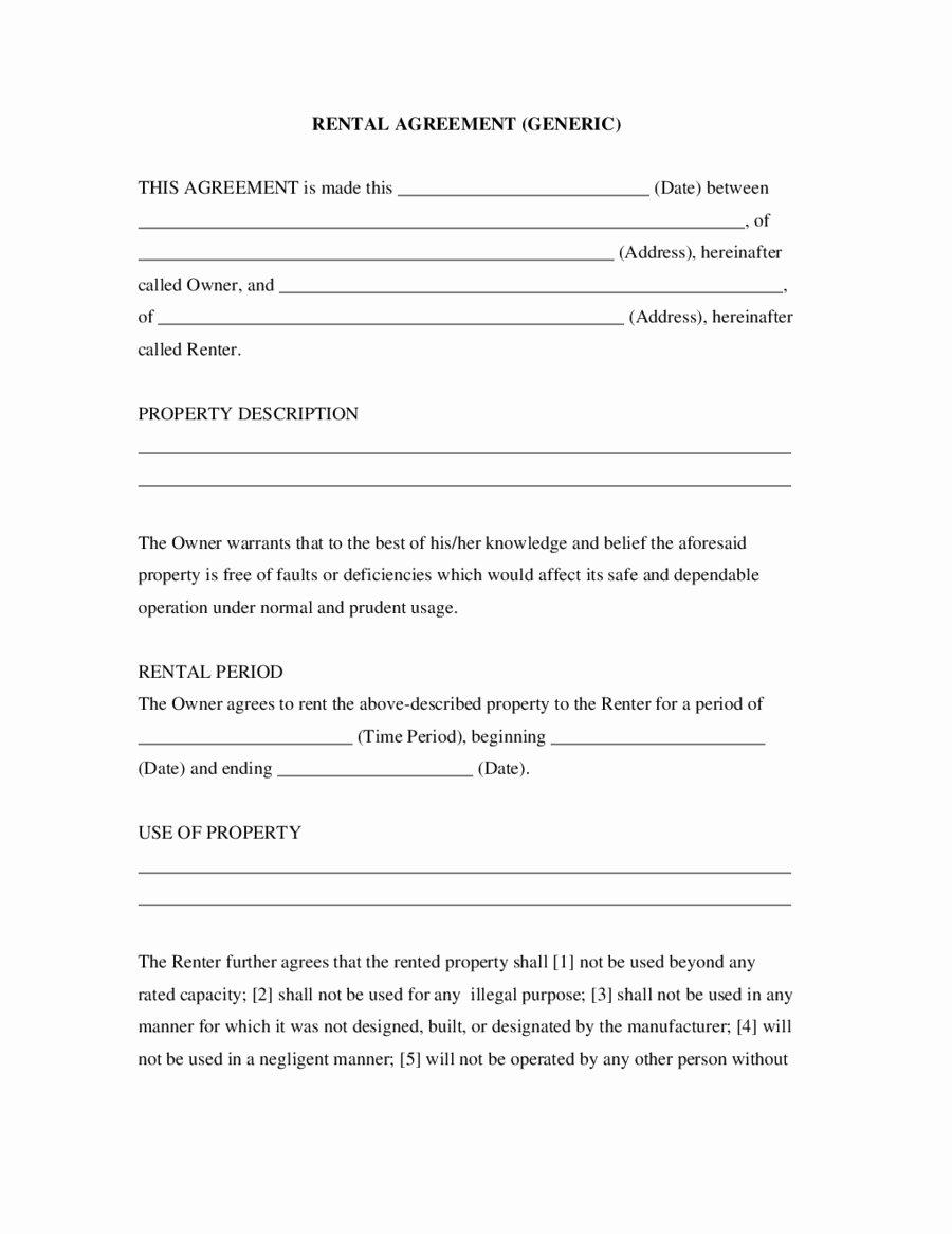 Basic Vehicle Rental Agreement Template