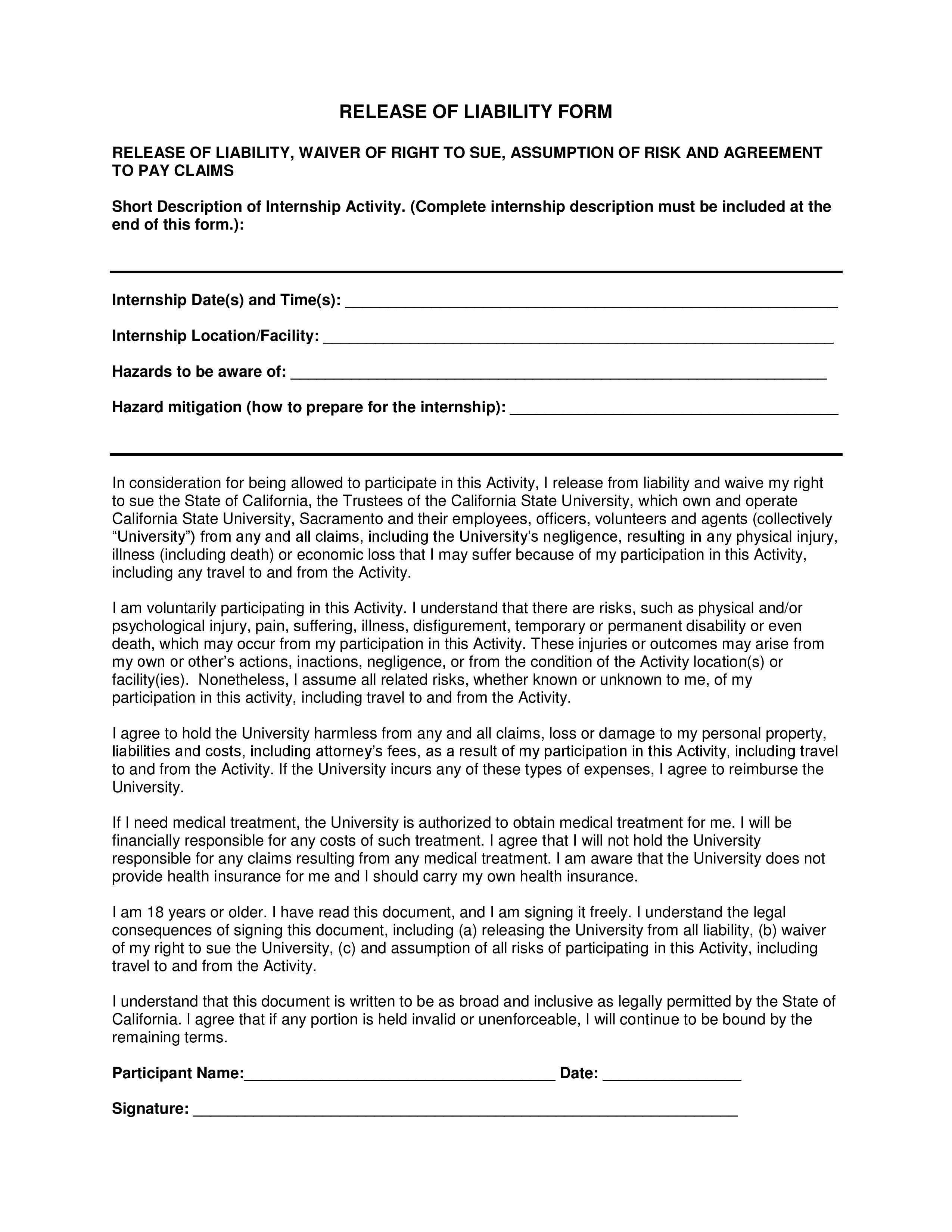 Basketball Liability Waiver Form Template