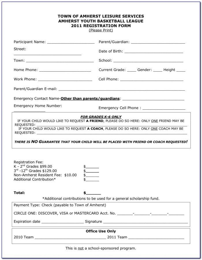 Basketball Registration Form Template Word