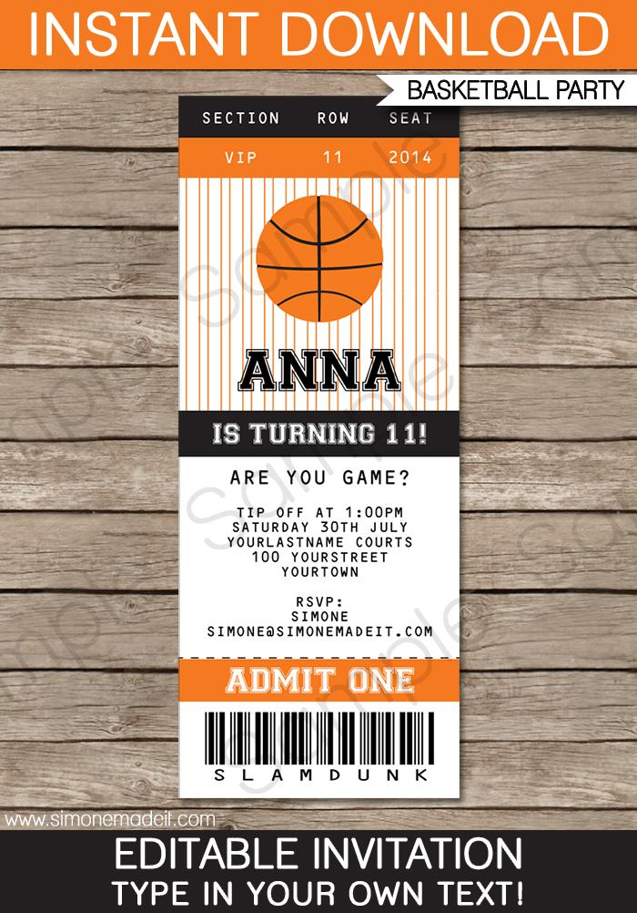 Basketball Ticket Template Free