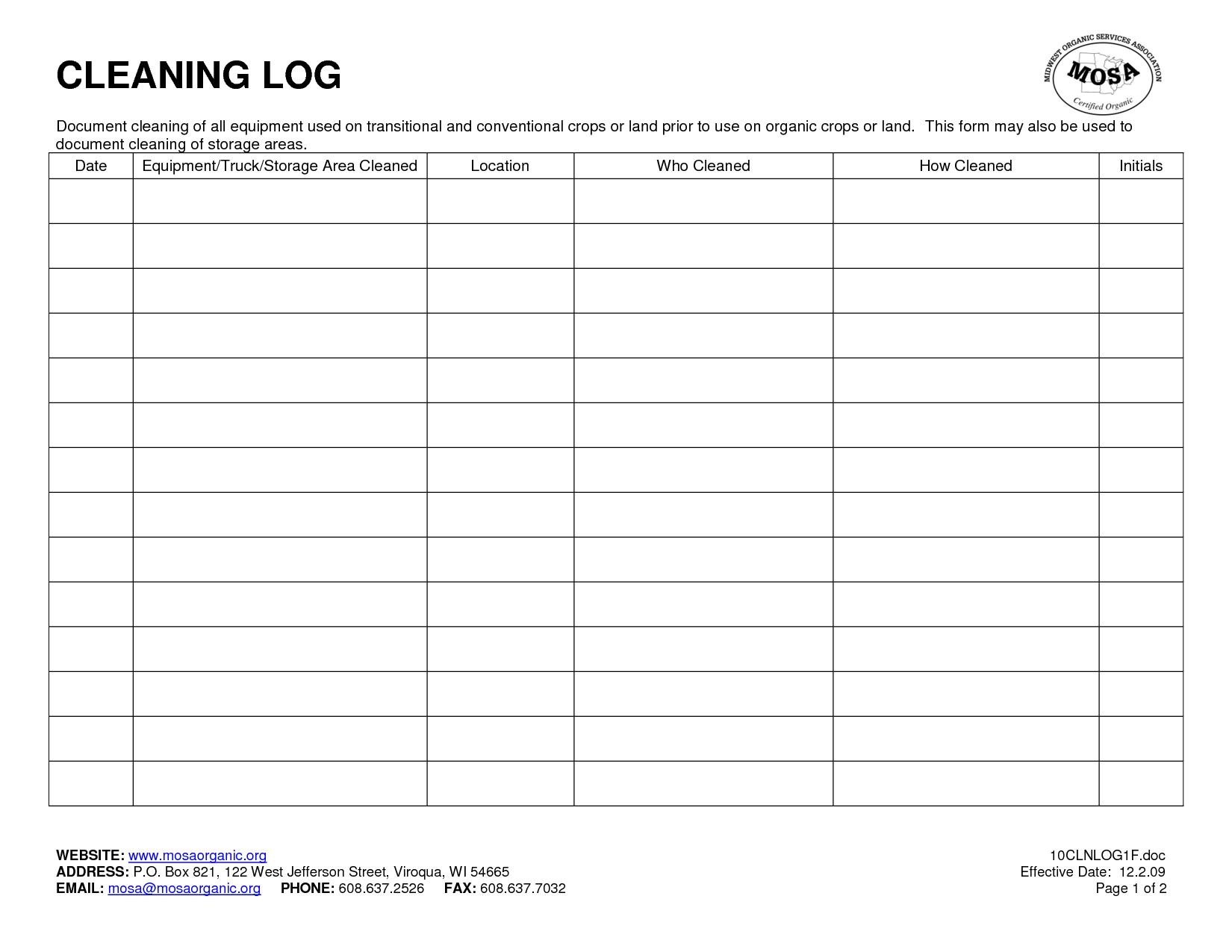Bathroom Cleaning Log Template Excel