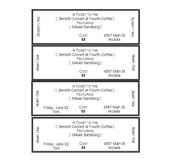 Bbq Benefit Tickets Template