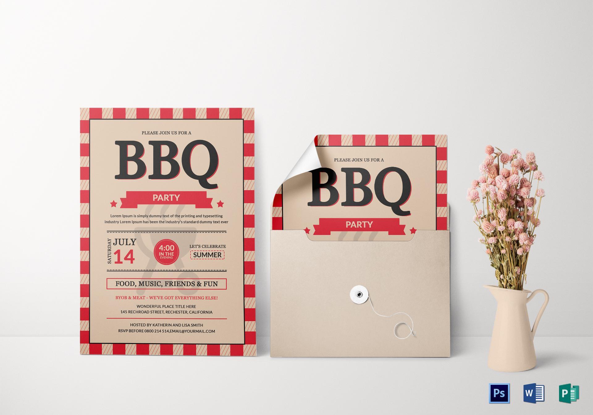 Bbq Invitation Template Publisher