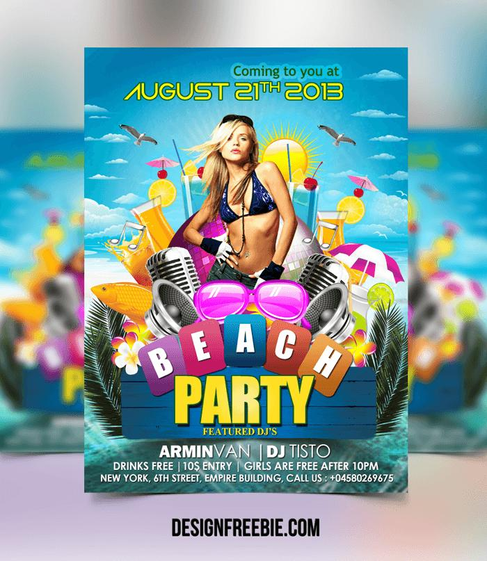 Beach Party Flyer Template Free Download
