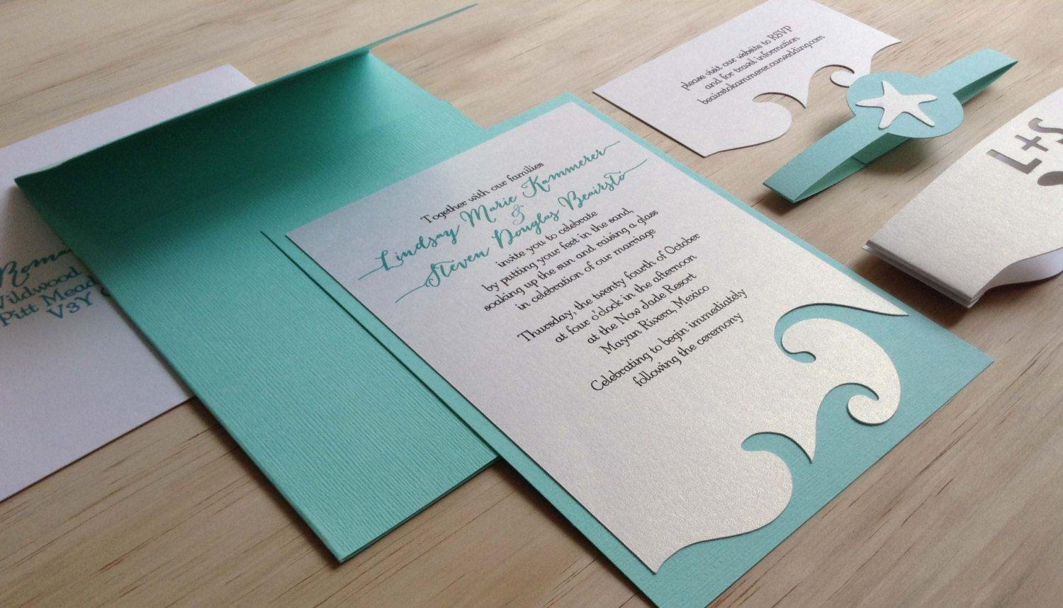 Beach Wedding Invitation Cards Templates