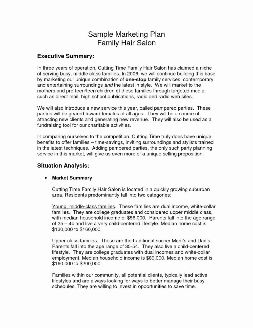 Beauty Salon Business Plan Sample Uk