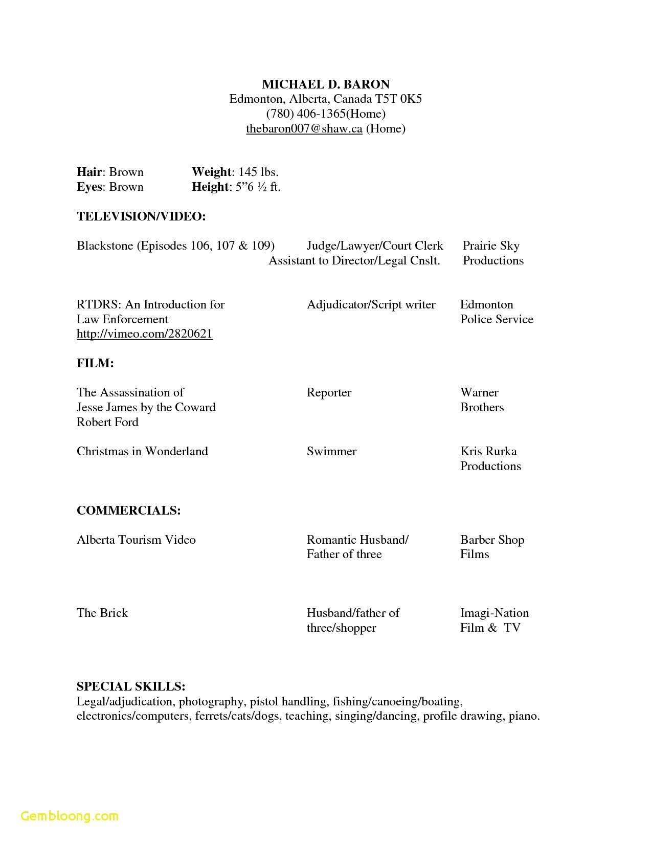 Beginner Acting Resume Template Word