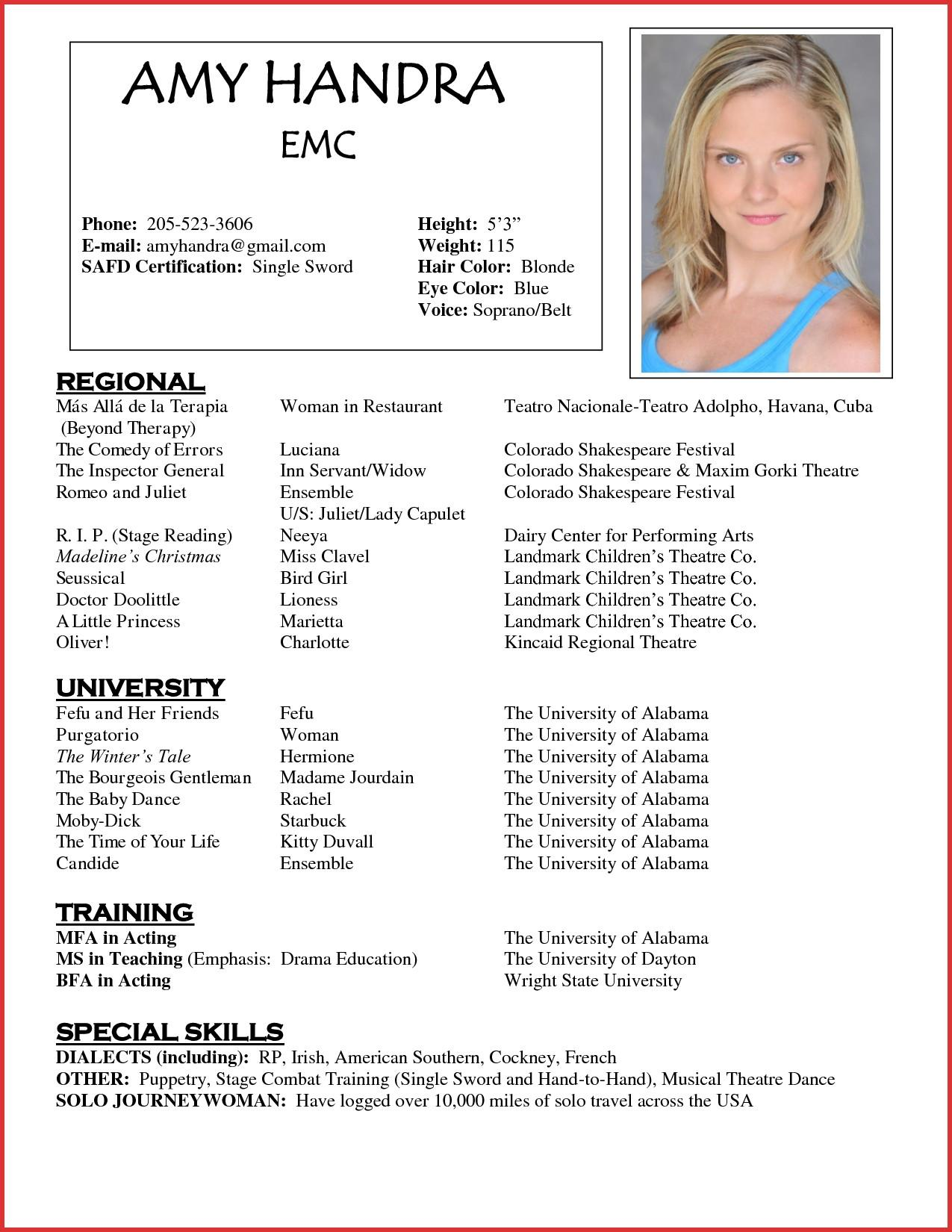 Beginner Child Actor Resume Template