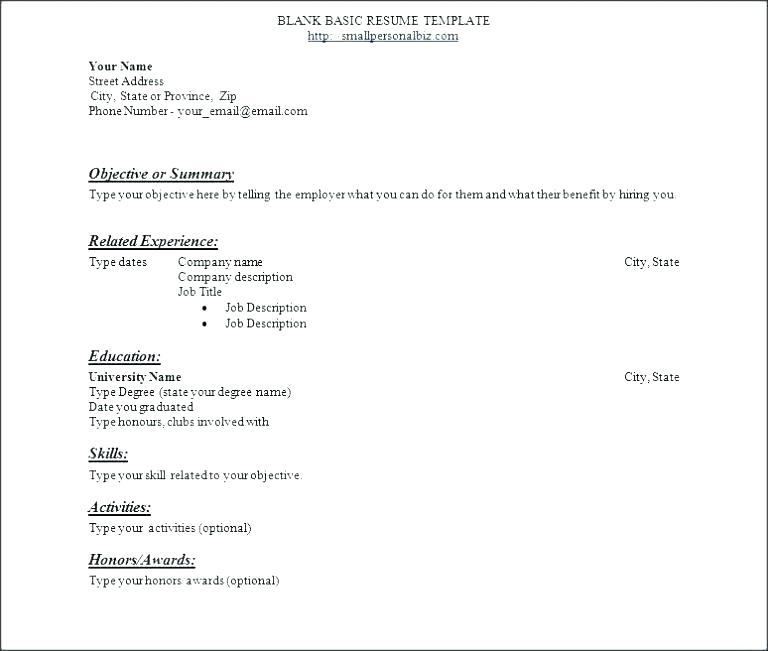 Beginners Resume Template