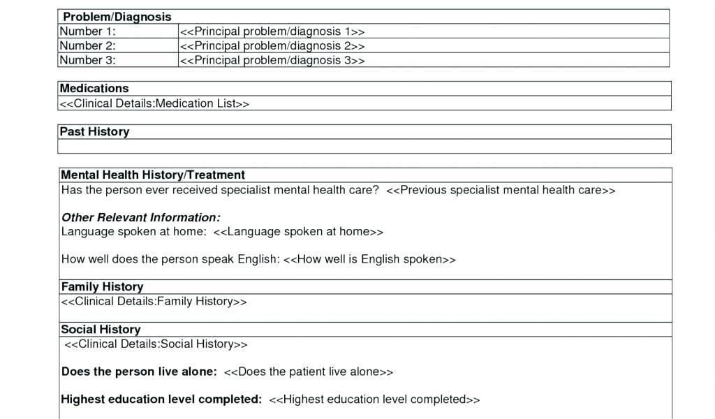 Behavioral Health Treatment Plan Form