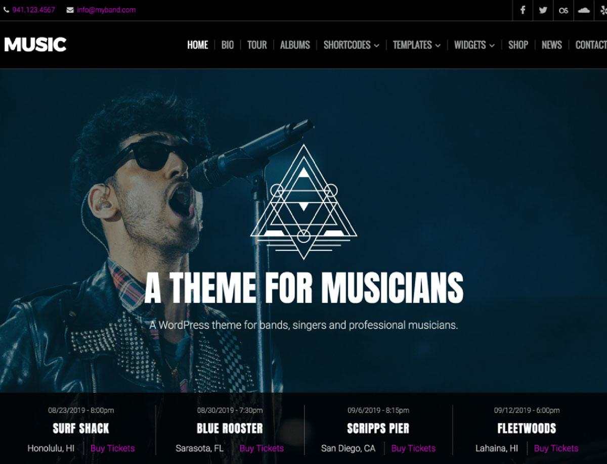 Best WordPress Themes For Musicians Free