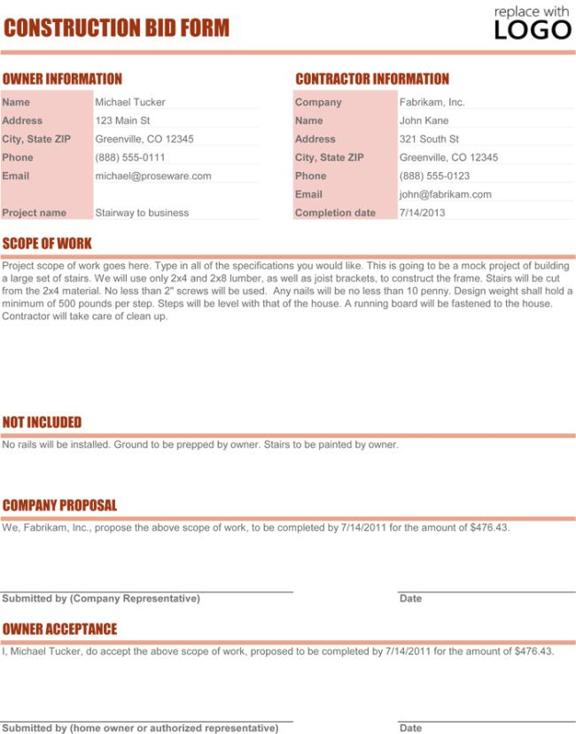 Bid Proposal Template Microsoft Word