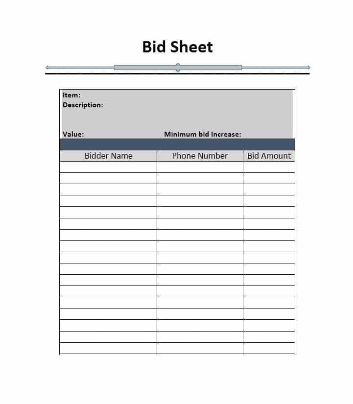 Bid Sheet Template Free