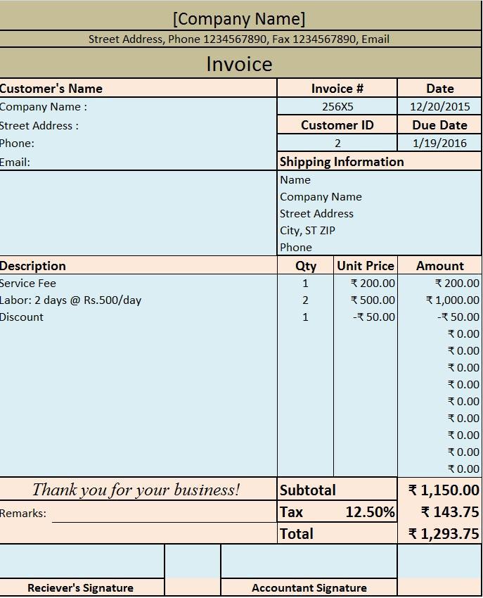 Bill Invoice Template Download