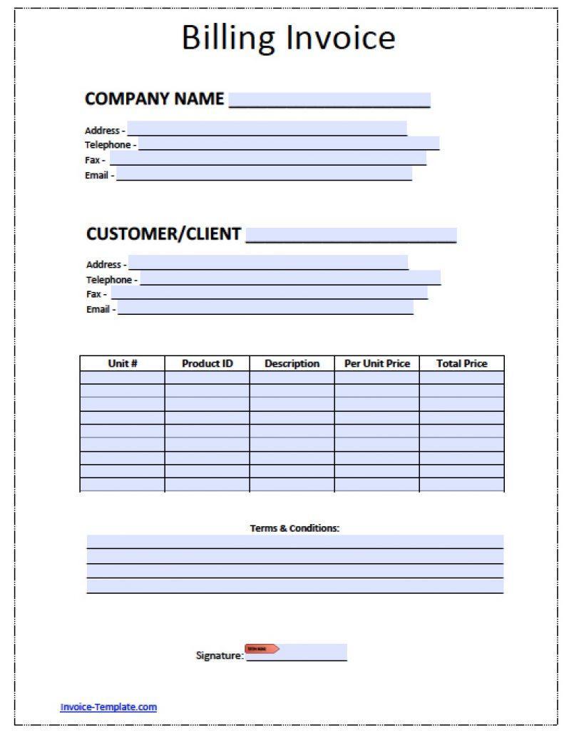 Bill Invoice Template Pdf