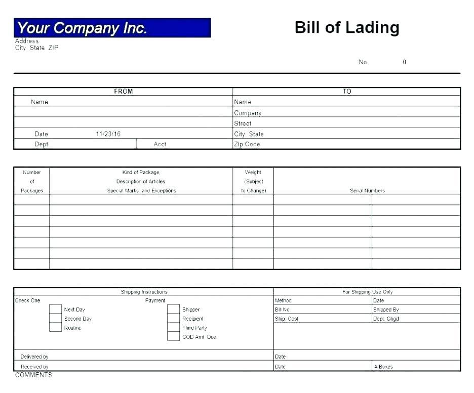 Bill Of Lading Template For Word