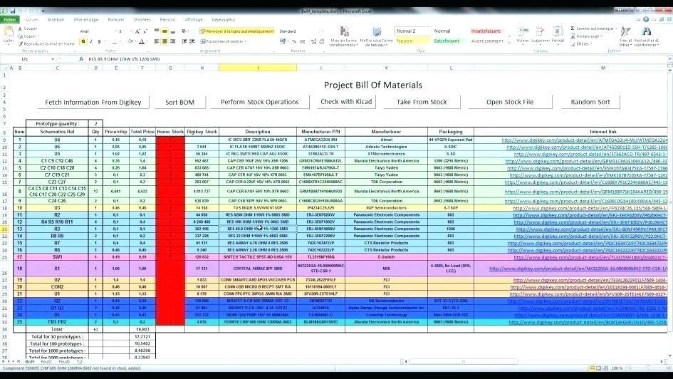 Bill Of Material Template Pdf