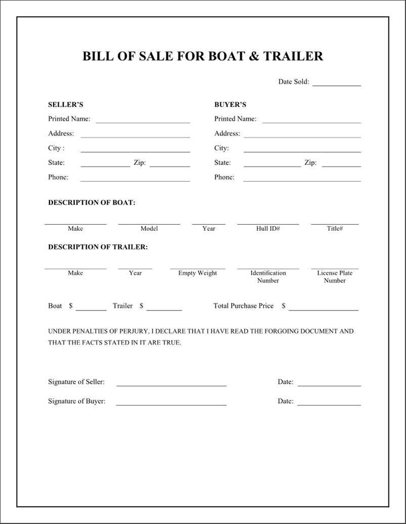 Bill Of Sale Template Boat Canada