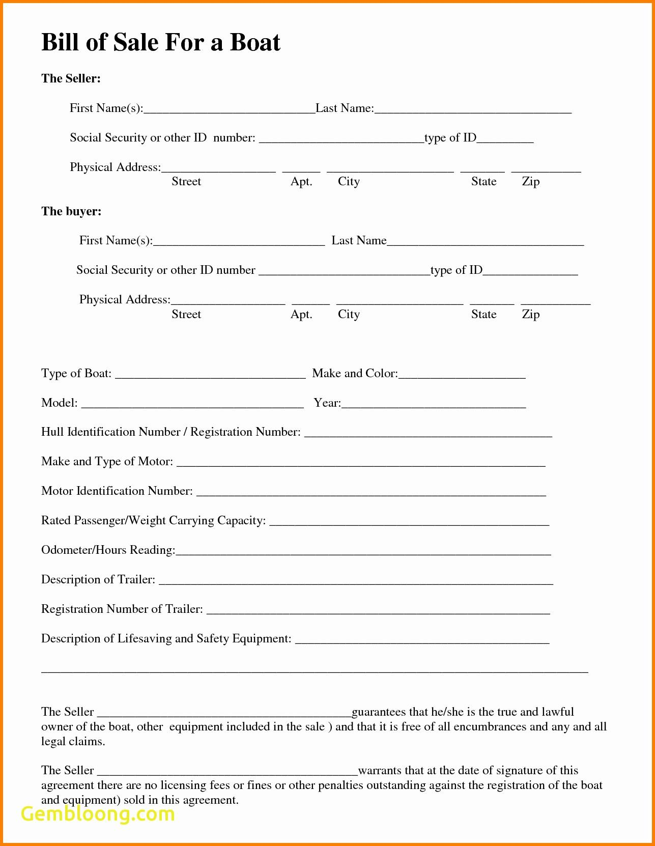 Bill Of Sale Template For Car Hawaii